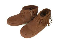 H&M Chirldren's Unisex Moccasins BROWN Faux Suede side zip US 10.5 EUR 28 #HM #CasualShoes