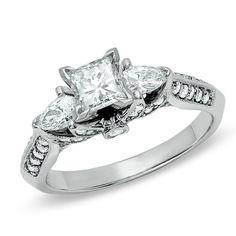 1-1/6 CT. T.W. Princess-Cut Diamond Ring in 14K White Gold