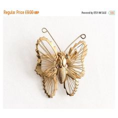 Golden Butterfly Pin, Filigree, 1960s Vintage Jewelry SPRING SALE (€4,70) via Polyvore featuring jewelry, brooches, filigree jewelry, vintage brooches, pin brooch, butterfly jewelry and golden jewellery