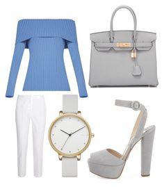 """Clear skies"" by simikaykay on Polyvore featuring Prada, Hermès, BCBGMAXAZRIA, Skagen and Michael Kors"