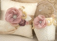 Flower Girl Basket and Ring Bearer Pillow Set in Rose, Dusty Rose, Gold and Champagne with Embroidered Lace