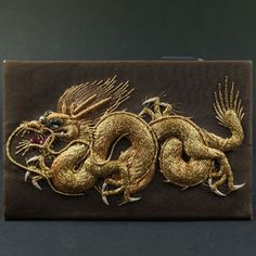 Vintage Chinese Card Case, Wallet, Metal Thread Raised Work Embroidery, Stump Work 1920's