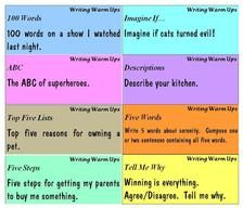 Writing warm up cards...very good ideas for writing warm ups!