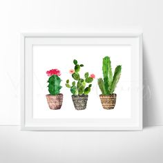 Farmhouse Art Decor. Floral art, shabby chic boho 3 Watercolor Floral Cactus Plants in Tribal Style Pots. Boho Watercolor Art Print. Art prints for nursery walls from VividEditions, Art Prints For Kids.