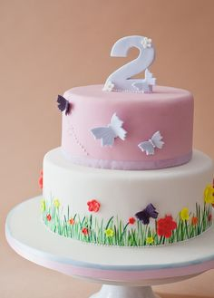 Butterfly garden 2nd Birthday Cake by S K Cakes www.s-k-cakes.co.uk Butterfly Birthday Cakes, Baby Birthday Cakes, Butterfly Cakes, 2nd Birthday Parties, Pink Butterfly, Wildflower Cake, Ultimate Chocolate Cake, Cloud Cake, Garden Birthday
