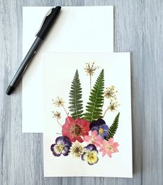 Watercolor note card set of 3 original abstract floral art pen and ink blank all occasion stationery red green botanical art