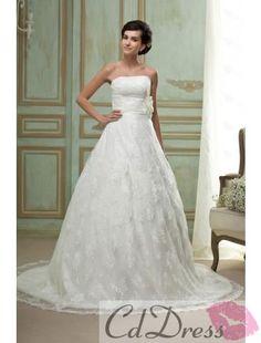 Elegant A-line Lace and Flower Wedding Dress