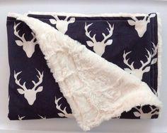 Woodland Deer Antler Baby Blanket-Navy Buck Minky-Outdoor Rustic Cabin Boy Nursery-  Designer Fabric Minky