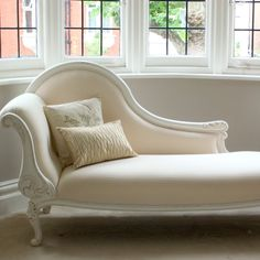 Classical White Chaise.   Bay window and chaise - how beautiful.