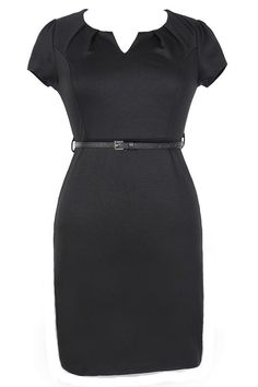 #Lily Boutique - #Lily Boutique Posh and Professional Belted Pencil Dress in Black - Plus Size - AdoreWe.com