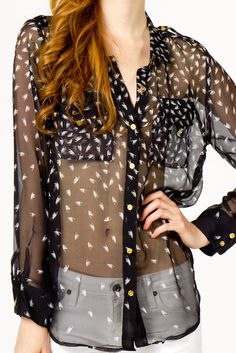 Silk Feather Blouse. Fun and flirty.