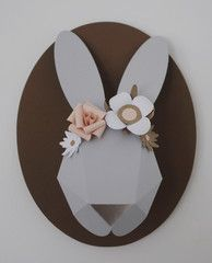 Grey and blush paper rabbit bust