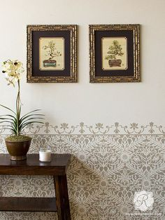 Small Mughal Trellis Moroccan Wall Stencil SKU# Actual Design Size: w x h Reusable 10 mil mylar This ornate Mughal Trellis Moroccan Wall Stencil is exotic and elegant at the same time. Stencil it in tone-on-tone colors for a delicate feel, or paint it in Damask Wall Stencils, Moroccan Wall Stencils, Wallpaper Stencil, Large Stencils, Stencil Patterns, Stencil Designs, Painted Patterns, Wall Painting Stencils, Wall Stenciling
