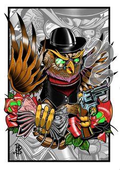 Old School Gangster Owl Tattoo Flash Print