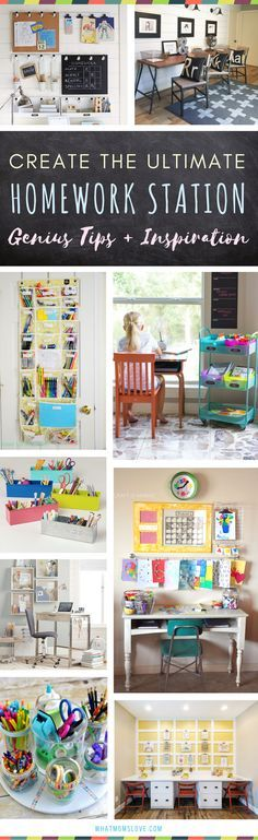 Homework Station for kids | The best organization ideas for how to create a study space at home for elementary school kids to teens. Incredible tips, hacks and motivation | Many are DIY and portable - great for small spaces!