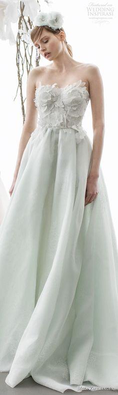 strapless sweetheart neckline heavily embellished bodice romantic green color a  line wedding dress chapel train (amellia) lv -- Mira Zwillinger 2018 Wedding Dresses