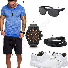 Sommer-Style mit blauem Amaci&Sons Shirt, La Optica Sonnenbrille, Fossil Herrenuhr und Armband, Supra Sneakern und blauen Shorts.