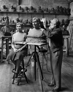 The sculptor Jo Davidson worked on his bust of Helen Keller in 1942. NYT Lens Blog