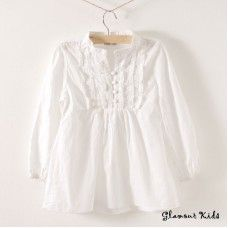 White girls blouse with ruffles. Frocks For Girls, Girls Dresses, Fall Outfits, Kids Outfits, Girls Blouse, Dress Tutorials, Little Girl Outfits, Swagg, Dress Patterns