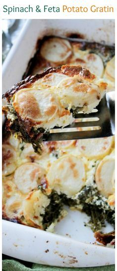 Layers of sliced potatoes filled with a delicious mixture of spinach and feta cheese. Our favorite dinner!
