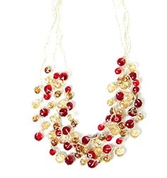 30% off today- Black Friday! Glistening reds and dazzling yellows create thisastonishingthree row necklace, perfect for parties or a night for two.