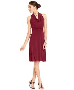 Evan Picone Dress, Sleeveless Pleated Cowl-Neck from Macy's