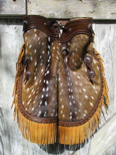 Tooled Leather Purse, Leather Hats, Leather Tooling, Cowhide Leather, Leather Craft, Tan Leather, Leather Fringe, Western Chinks, Western Wear