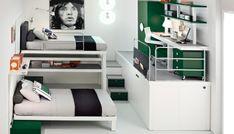 bunte tolle hochbetten Weiß und Grasgrün mit Poster