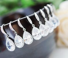 photo of earrings on wedding day