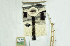 Large woven wall hanging, handspun wool decor, Grey white black tapestry, Modern home decor,  textile wall art, wall rug, weaving, fiberart