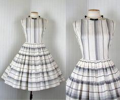 1950s Dress   CLOUD CASTLES Vintage 50s Cotton White by jumblelaya, $108.00