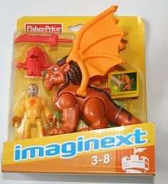 Imaginext Winged Lion & Knight Mini Figure by Fisher-Price. $22.85. Includes yellow knight mini figure w/sword and lion mask. For ages 3-8. Knight mini figure measures approx. 2.75 inches tall. Winged lion flaps wings when button is pressed. Imagine a world of action and excitement where you decide what happens next! Sword fights, jungle safaris, daring rescues and more. Whatever world you travel to, it's a whole new adventure every time you play!   Age 3-8