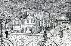 The Artist& House in Arles - Vincent van Gogh Van Gogh Drawings, Van Gogh Paintings, Ink Pen Drawings, Drawing Sketches, Vincent Van Gogh, Artist Van Gogh, Van Gogh Art, Art Van, Van Gogh Zeichnungen