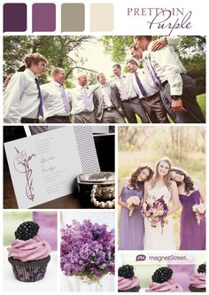 Pretty in Purple - Eggplant, Plum, Ashwood, Champagne. What a soft, pretty palette. Love this color scheme.