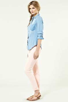 Peach skinny jeans with a splash of denim,