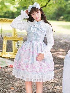 Sweet Lolita Robe Cute Bows imprimé léger bleu Alice Loita Jumper Skirt avec dentelle