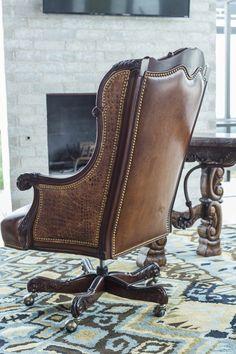 Oakley Alligator Executive Swivel   Brumbaugh's Fine Home Furnishings Executive Chair, Nailhead Trim, Home Office Furniture, Pet Accessories, Wingback Chair, Home Furnishings, Oakley, Hardwood, Leather