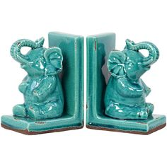 Sitting Elephant Bookends in Turquoise  at Joss and Main