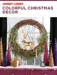Add a pop of color to your holiday decor with rich, vibrant hues and playful animal print.