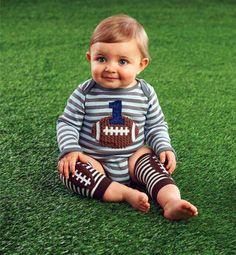 Amazon.com: Mud Pie Baby-Boys Newborn I'm One Football Crawler, Brown, 9-12 Months: Baby