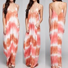 Love Stitch Coral and Rust Tie Die Maxi Deess  #LoveStitch #Maxi