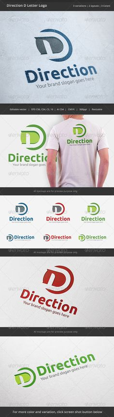 Direction D Letter - Logo Design Template Vector #logotype Download it here: http://graphicriver.net/item/direction-d-letter-logo/6502125?s_rank=781?ref=nexion