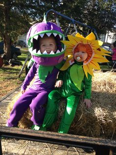Brother and sister Plants vs Zombies costume. DIY Chomper and Sunflower