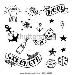 set of old school tattoos elements, vector