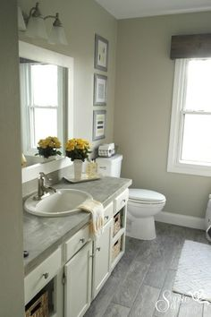 Beautiful Builder Grade Bathroom Makeover on a Budget ! Tons of Easy Update Ideas !