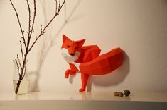AMAZING shop! A wonderful fox in Brick Red for your home!    This do-it-yourself fox paper sculpture will be installed in two elements - fox body and tail.