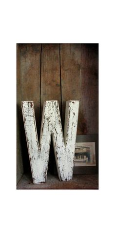 Shabby Painted White Barn Wood Letter W, Baby Nursery wall decor, Decorative Wood Wall Letters