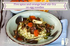 Five spice and orange beef stir-fry on egg noodles Orange Beef, Beef Stir Fry, Egg Noodles, Beef Dishes, Fries, Eggs, Dinner, Ethnic Recipes, Food
