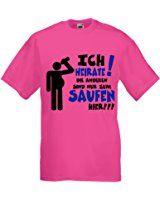 Men T-Shirt für den Junggesellenabschied mit Motiv Ich heirate - Die Anderen sind nur zum Saufen hier (Männer/Bräutigam) in pink, Größe L