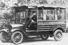 A 1917 Ford Model T-based Paddy Wagon. This would be the right age for the year the jail was built